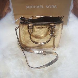 Michael Kors Gold Adele Messenger Crossbody Bag